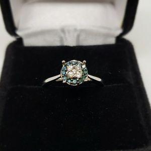 Jewelry - White Gold Blue & White Diamond Ring